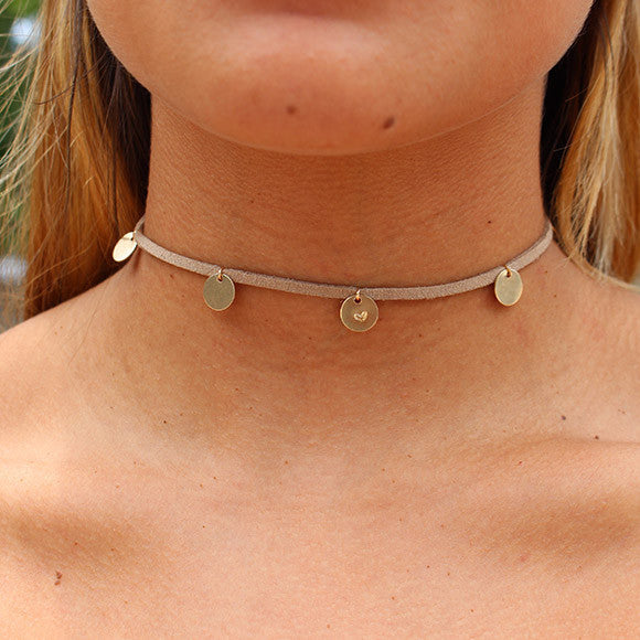 taudrey sand beige suede choker with personalized gold charms