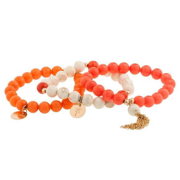 taudrey sea me in coral beaded bracelet set with gold tassel