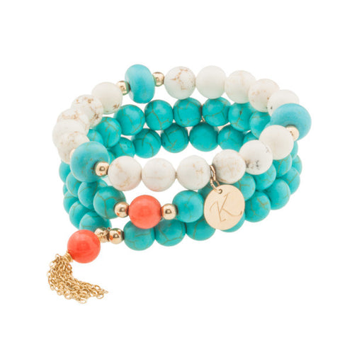 taudrey sea me in turquoise beaded bracelet set with gold tassel