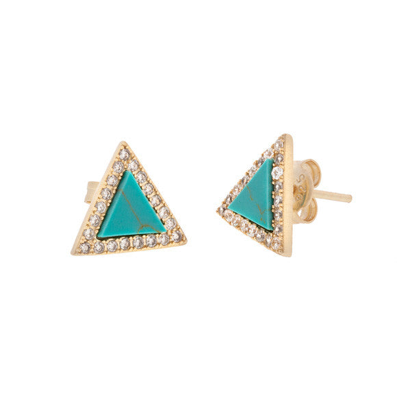 taudrey set sail earrings triangle shaped turquoise studs with pave crystals
