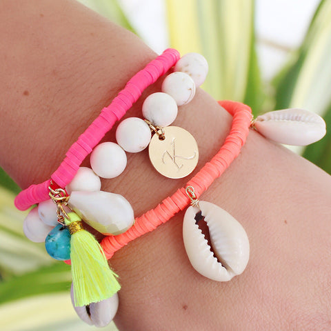 taudrey shipwrecked bracelet set neon shell theme personalized charm summer style