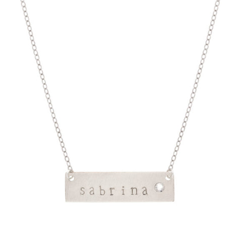 taudrey silver autograph hand stamped name plate necklace