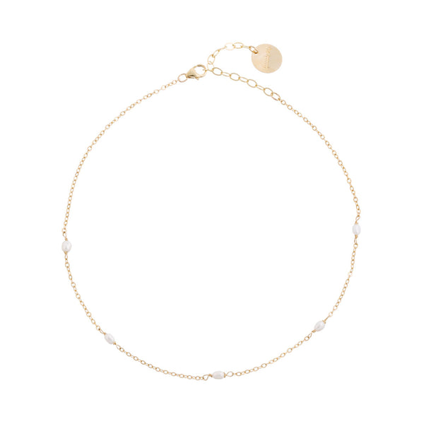 taudrey simply pretty choker dainty pearl details on thin gold chain