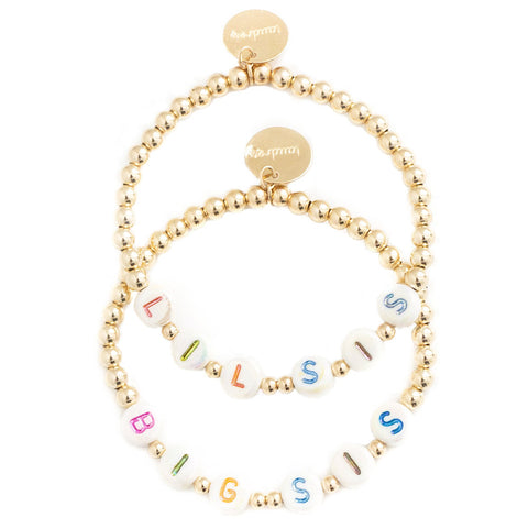 taudrey kids girls beaded letter block big little sister bracelet set