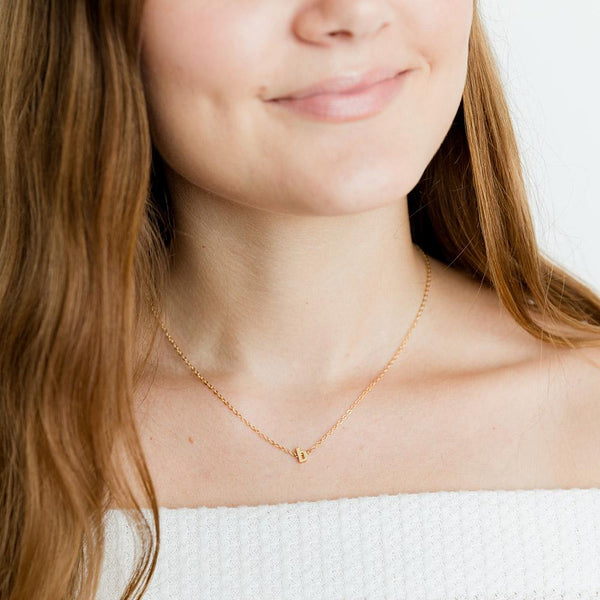 taudrey small print handcrafted necklace dainty gold chain gold letter charm