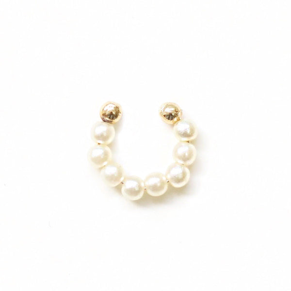 taudrey small step pearl gold bead earring cuff