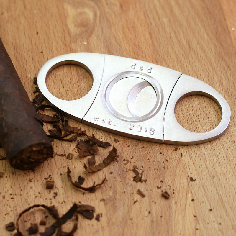 taudrey stainless steel silver personalized hand stamped cigar cutter
