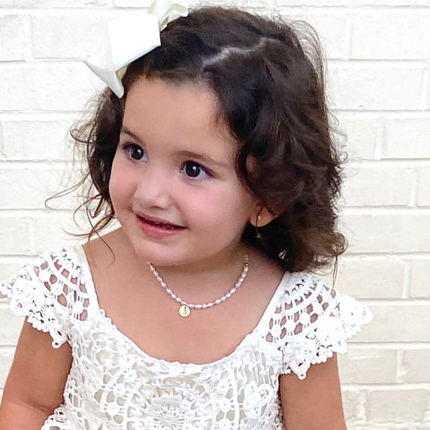 taudrey kids so cute kids pearl personalized charm necklace