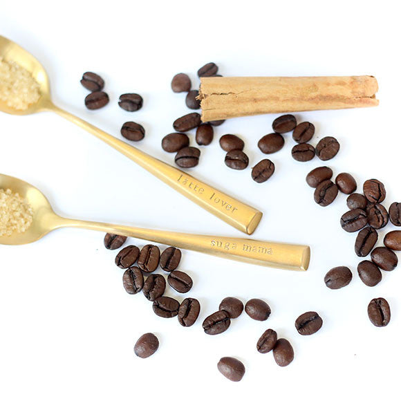 taudrey spoonful of sugar spoons gold brushed hand stamped personalized spoons coffee sugar spoons