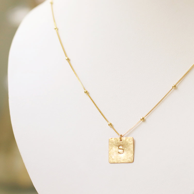 taudrey squared away necklace textured personalized square charm