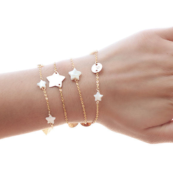 taudrey lucky stars gold chain three pearl star bracelet layered