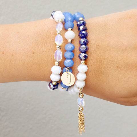 taudrey stardust bracelet blue theme opal accent beaded stack with personalized charm and gold tassel