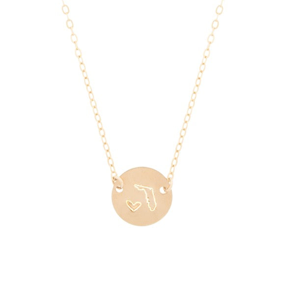 taudrey state mini coin personalized gold necklace florida state shape