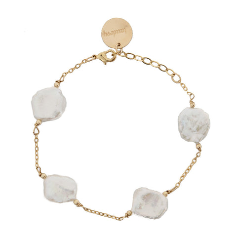 taudrey stepping stones bracelet gold chain naturally shaped flat pearls