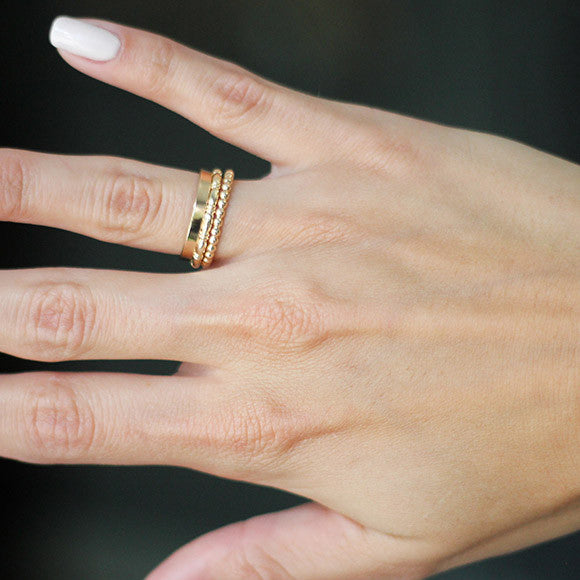 taudrey struck gold ring stack personalized