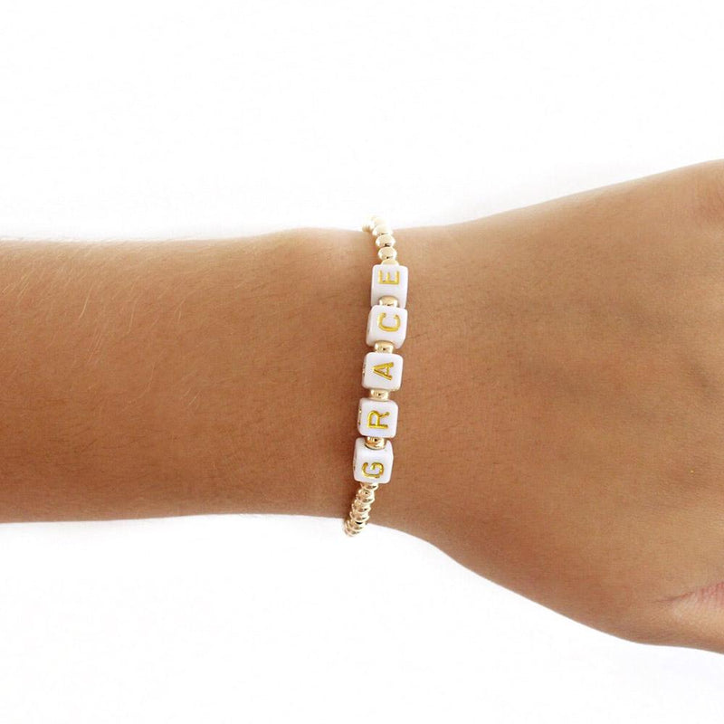 taudrey gold filled sugar cubes bracelet gold beads personalized letter block beads