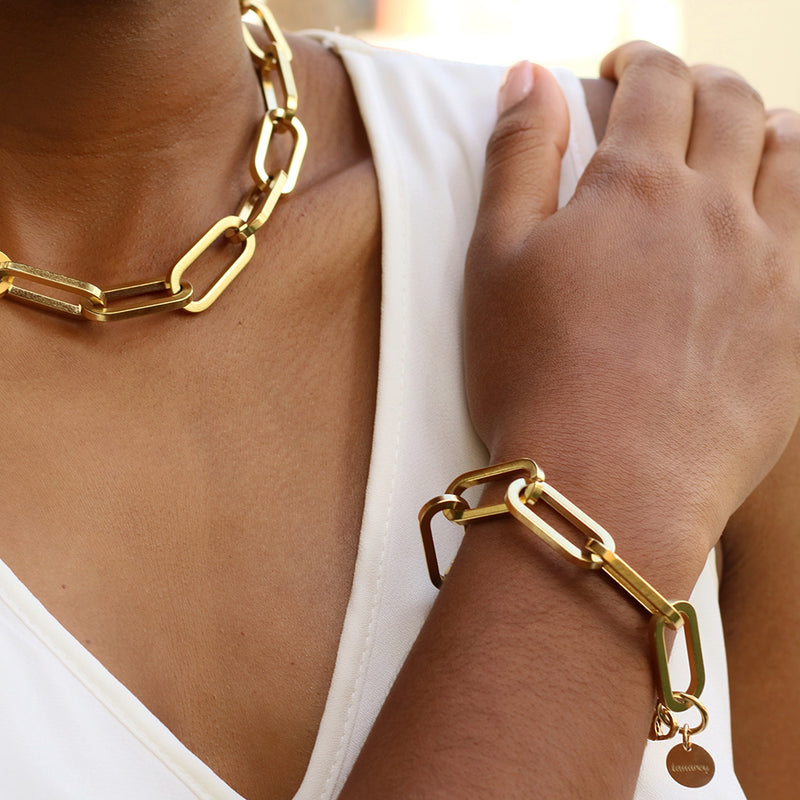 taudrey ultra thick gold link chain bracelet