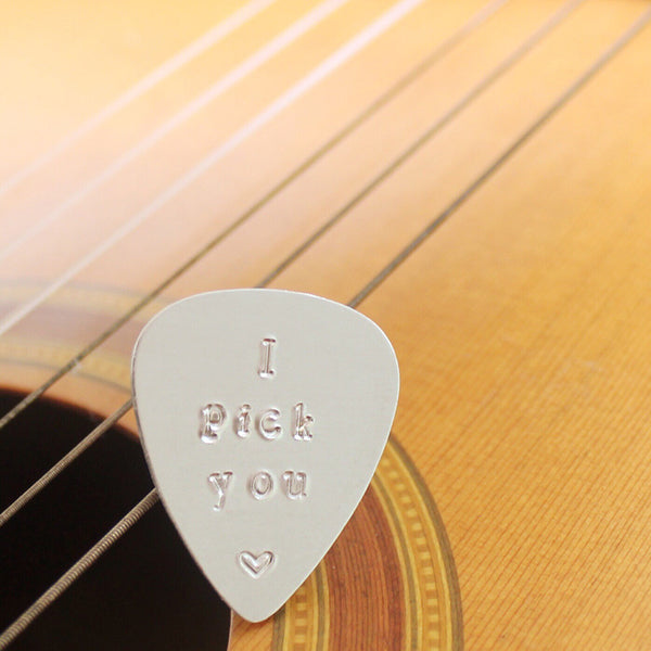 taudrey sweetest pick silver guitar pick musician personalized hand stamped gift mens gift fathers day