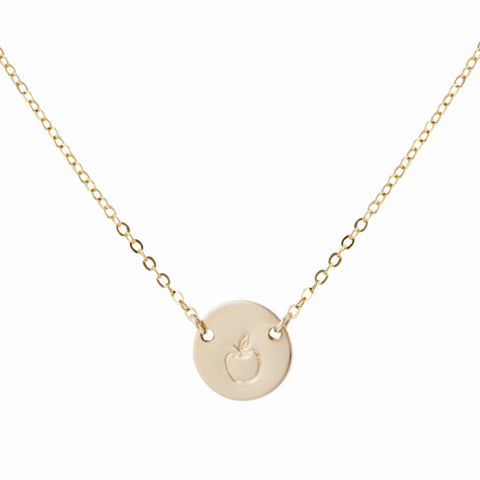 taudrey teachers pet gold necklace teacher appreciation gift apple stamp
