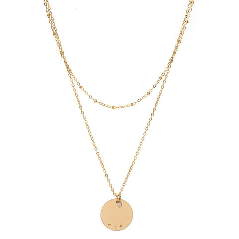 tenley molzahn leopold the bachelor taudrey jewelry collaboration shine collection gold double layered necklace detailed chain personalized coin charm