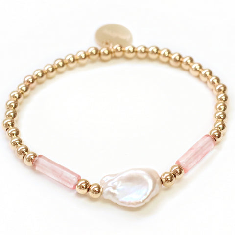 taudrey thats my pearl gold beaded bracelet pink translucent beads flat pearl detail