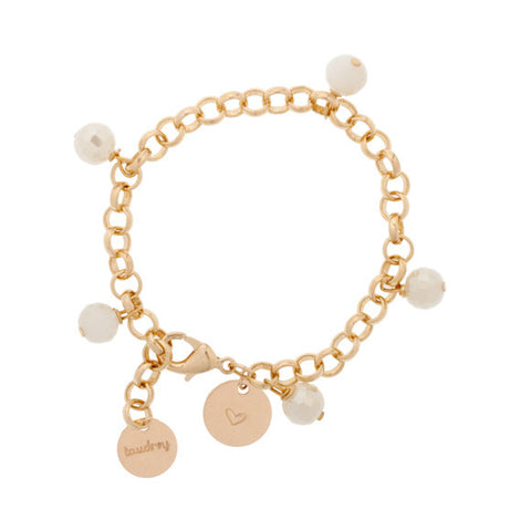taudrey the hang of it gold chain bracelet with crystal beads and personalized gold charm