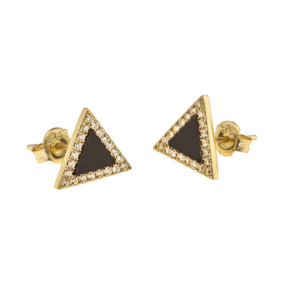 taudrey the new black studs onyx triangle studs outlined by pave crystals