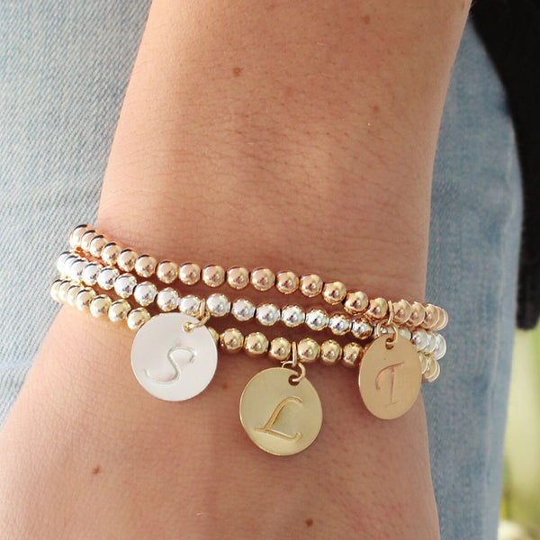 taudrey three little pretties beaded bracelet set gold rose and silver personalized charms