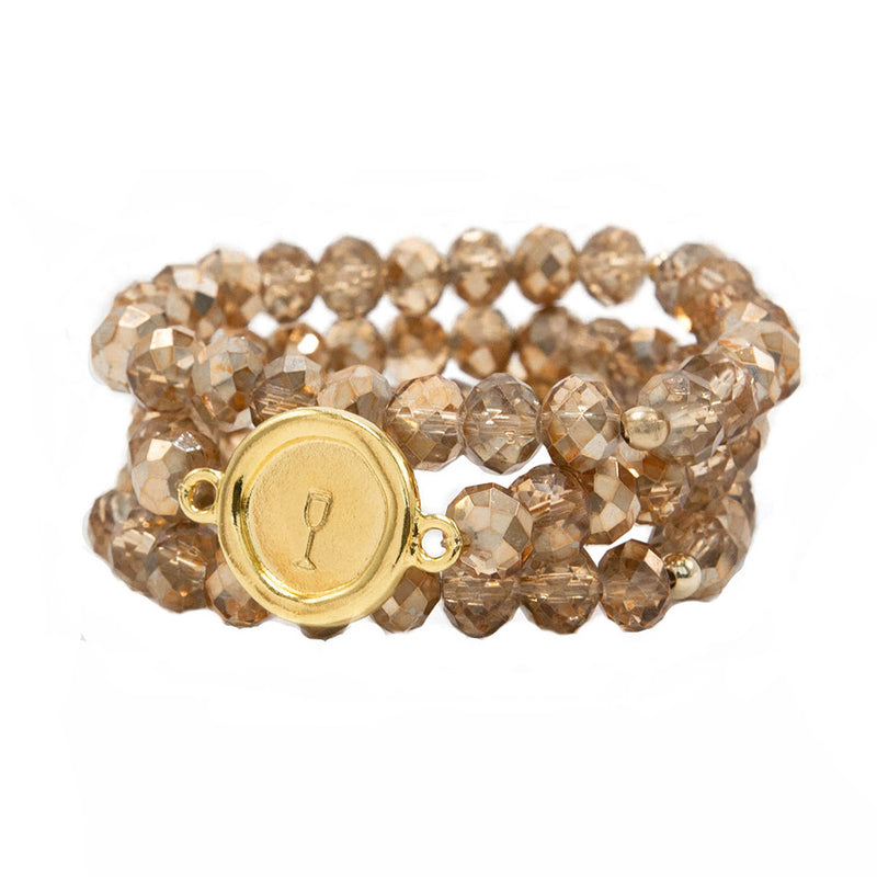 taudrey bead boss three piece beaded bracelet set personalized gold circular charm rose