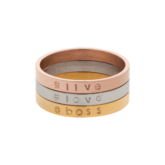 taudrey three ring circus personalized ring stack