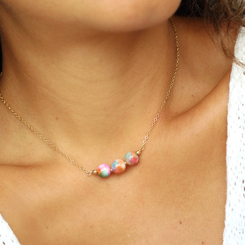 taudrey Tie Dye Necklace colorful marble tie dye beads