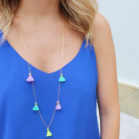 taudrey travel tassels long style tassel accented necklace bright hanging tassels summer style