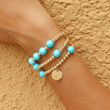 taudrey treasure chest bracelet set gold beaded set with turquoise bead accents and personalized gold charm