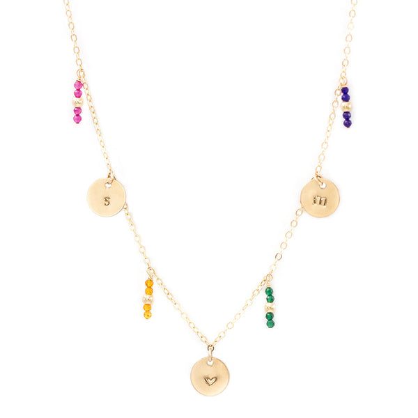 taudrey true colors necklace three personalized charms gemstone crystal bead accents