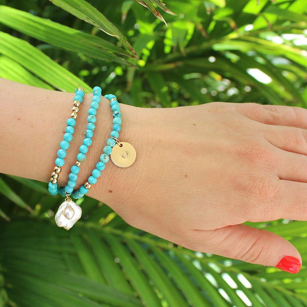 taudrey turquoise bracelet set shell details ride the wave set