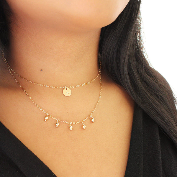 taudrey pre layered under my umbrella necklace hanging gold beads personalized gold charm