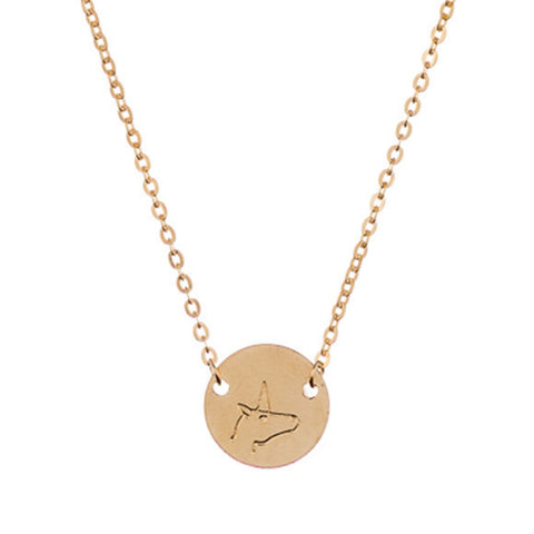 taudrey mini coin symbol necklace stamp detail unicorn