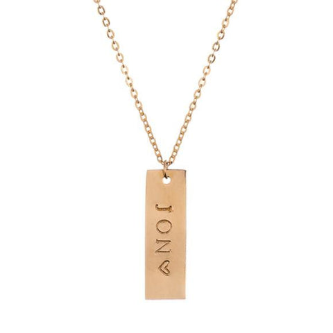 taudrey vertical autograph plate nameplate necklace uppercase font
