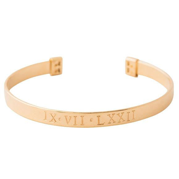 taudrey when in rome gold cuff with roman numerals