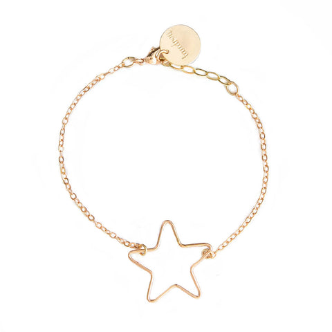taudrey dainty rose gold chain wish bracelet rose star shaped wire accent