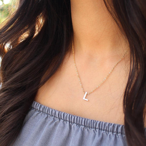 taudrey write me a letter necklace pearl letter detail