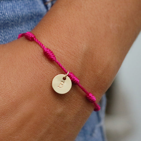 taudrey pink string bracelet personalized gold charm bca breast cancer awareness