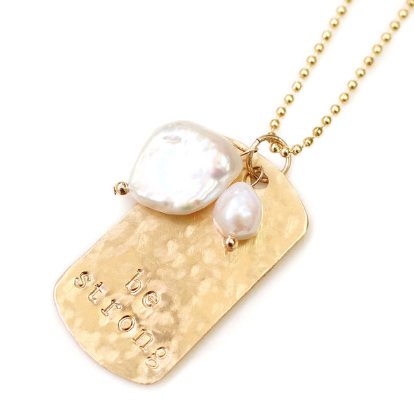 taudrey zoe necklace gold textured personalized dog tag charm pearl details
