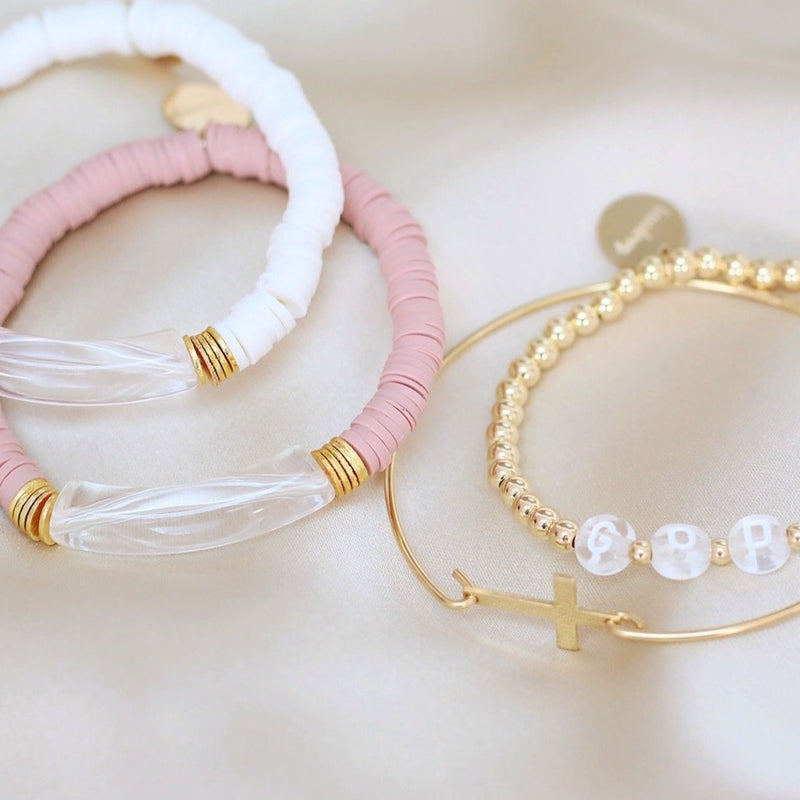 clearly in mauve bracelet set