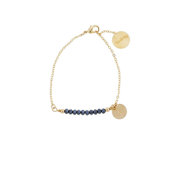 taudrey crystal clear bracelet gold thin with personalized charm and crystal beads