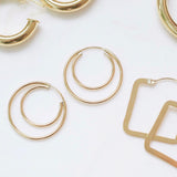Double the Fun Gold Hoops