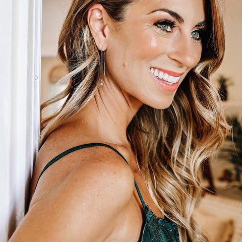 tenley molzahn leopold the bachelor taudrey jewelry collaboration shine collection pull through gold drop earrings with crystal detail