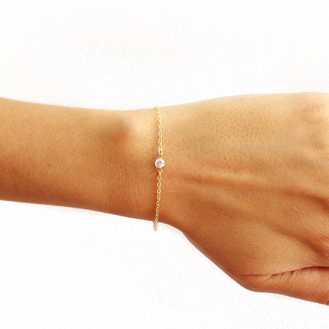 tenley molzahn leopold the bachelor taudrey jewelry collaboration shine collection single crystal gold chain bracelet