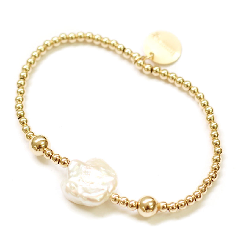 taudrey boss lady bracelet gold beads naturally shaped pearl