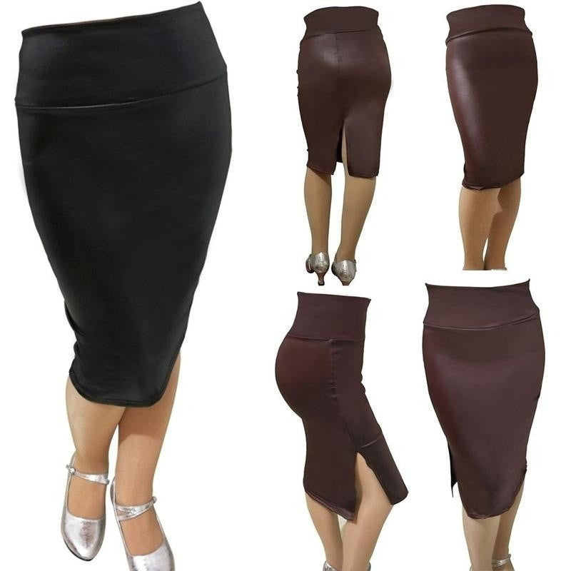 shop hot new products shop for genuine Women Faux Leather Pencil Skirt High Waist Sexy Below Knee Side Split Dress